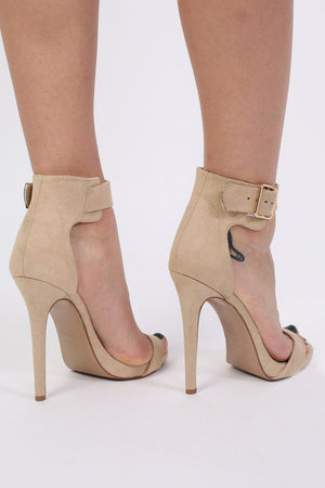 Velvet Ankle Strap High Heel Sandals in Nude 2