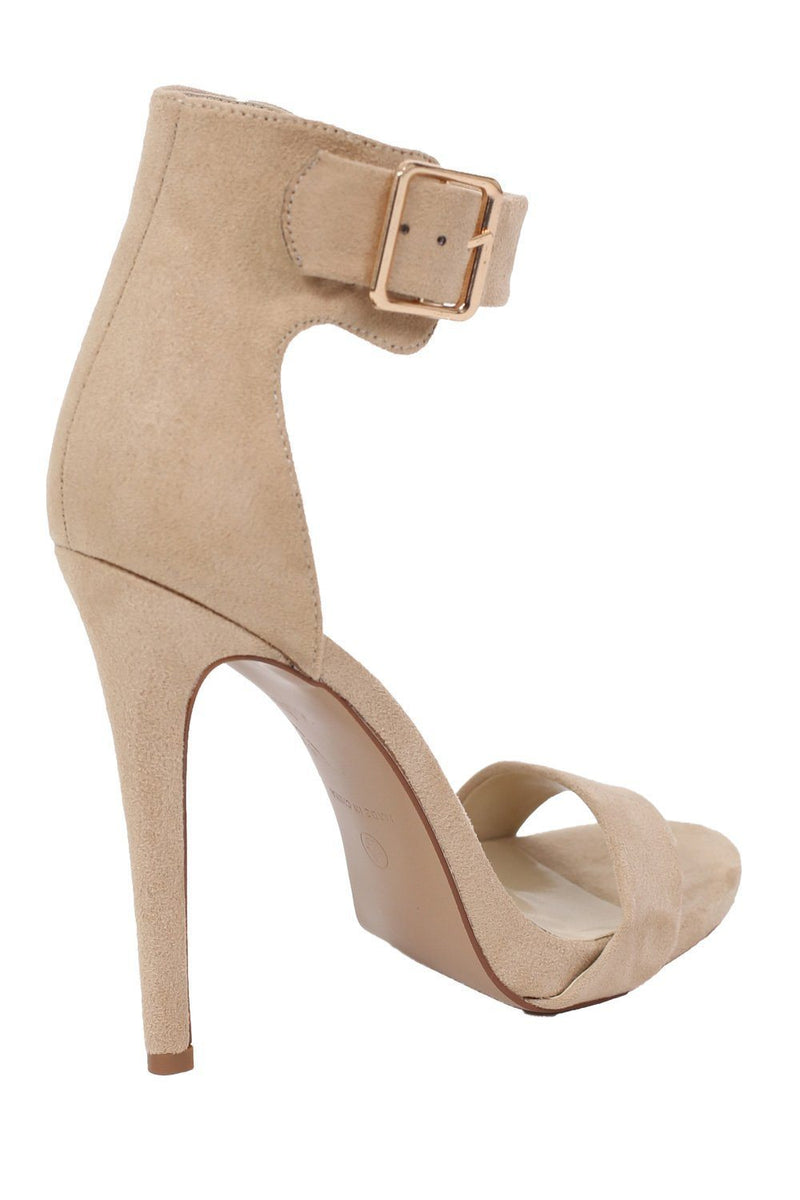 Velvet Ankle Strap High Heel Sandals in Nude 5