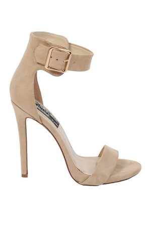 Velvet Ankle Strap High Heel Sandals in Nude 4