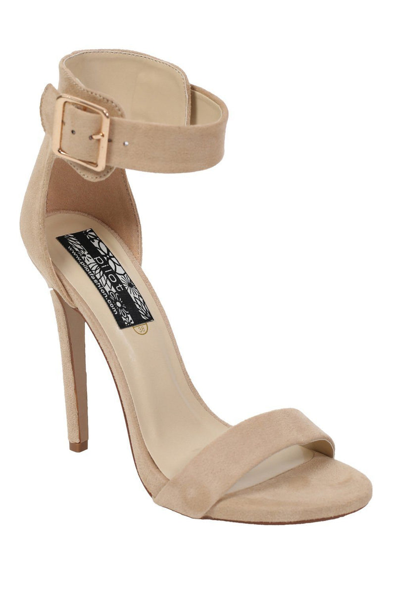 Velvet Ankle Strap High Heel Sandals in Nude 3