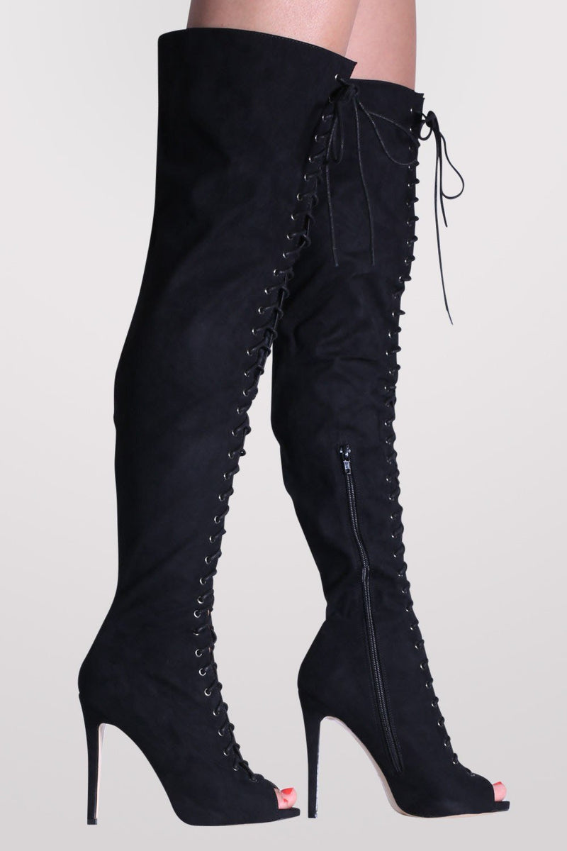Faux Suede Lace Up Over The Knee Open Toe High Heel Boots in Black 1