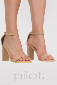 Block Heel Patent Barely There Strappy Sandals in Mocha Brown 0