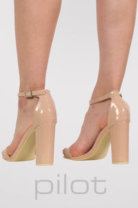 Block Heel Patent Barely There Strappy Sandals in Mocha Brown 3