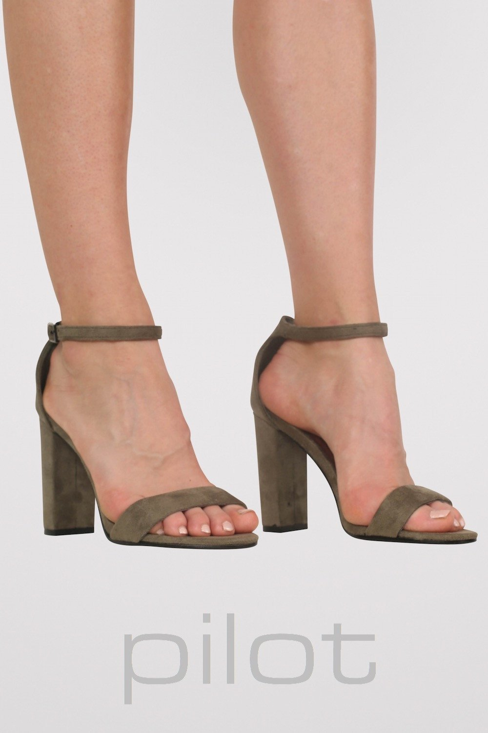 Faux Suede Block Heel Barely There Strappy Sandals in Khaki Green 0