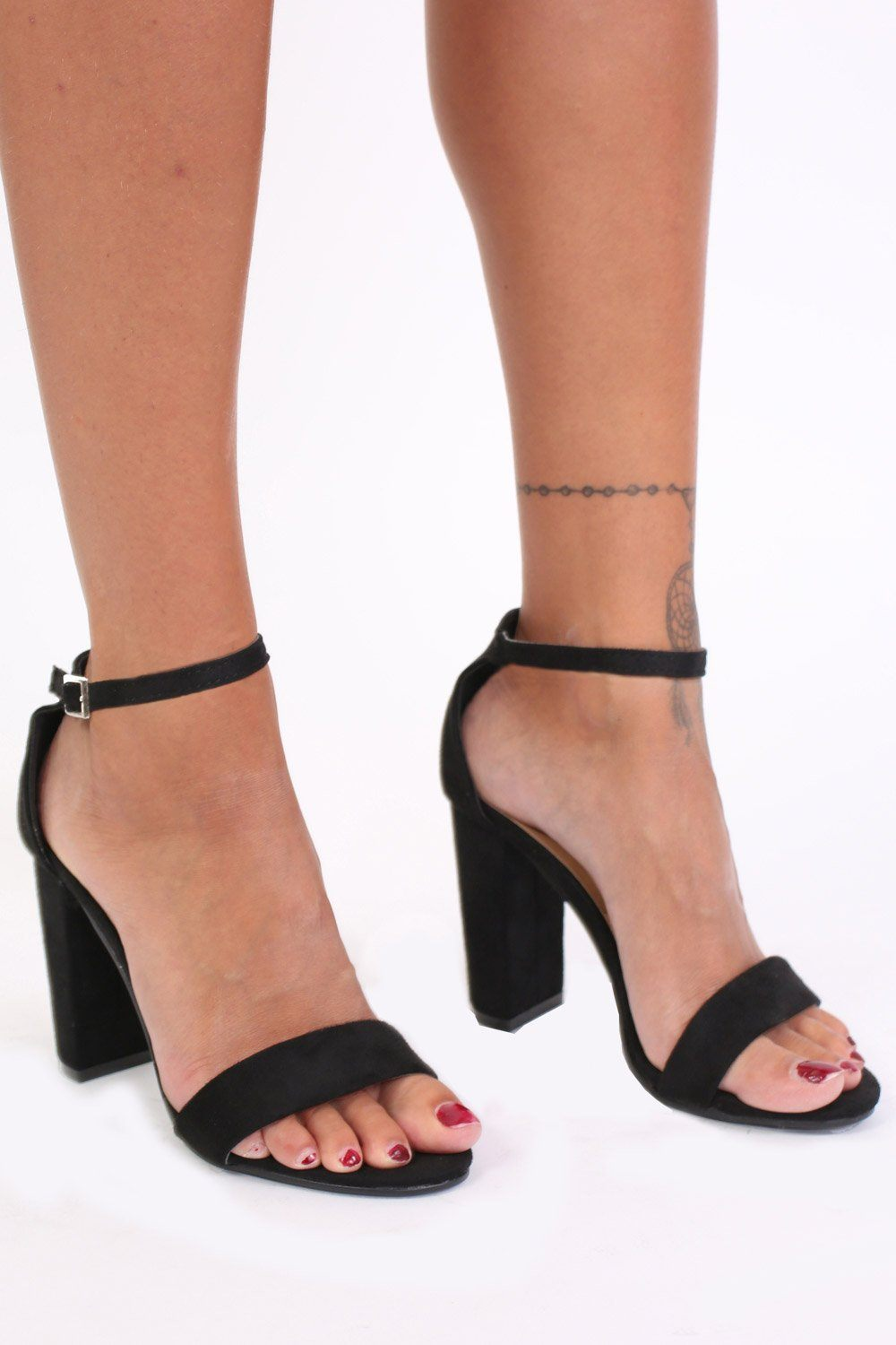 Block Heel Barely There Strappy Sandals in Black 0