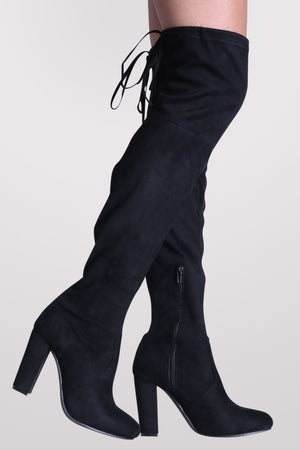 Faux Suede Block High Heel Over The Knee Boots in Black 1