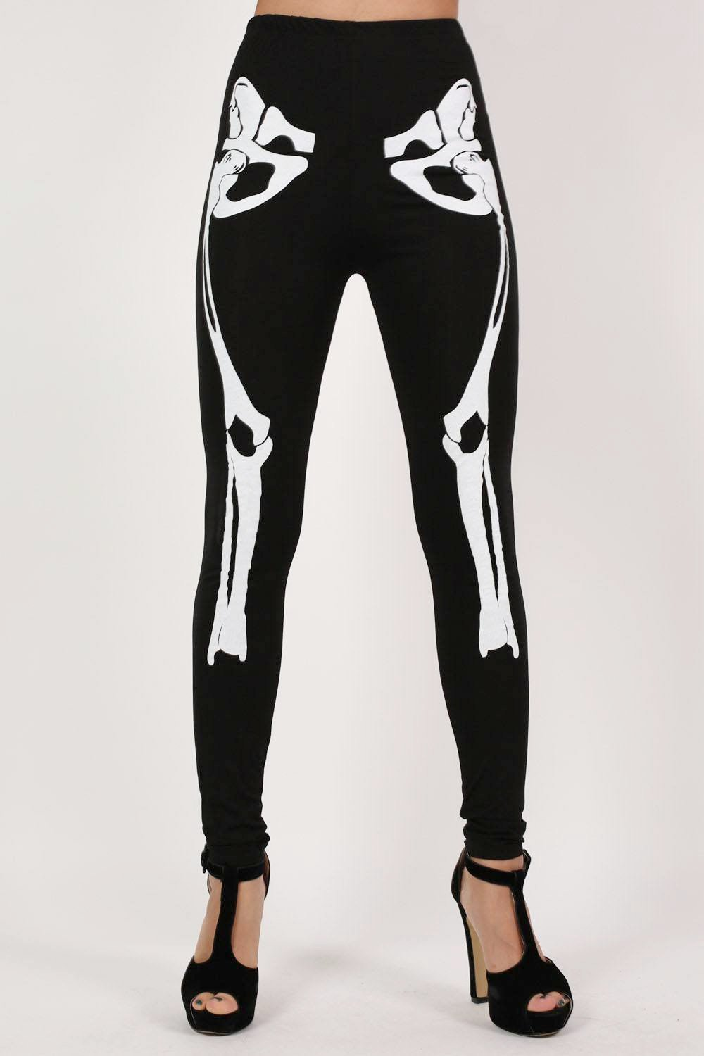 Halloween Skeleton Leggings in Black 0
