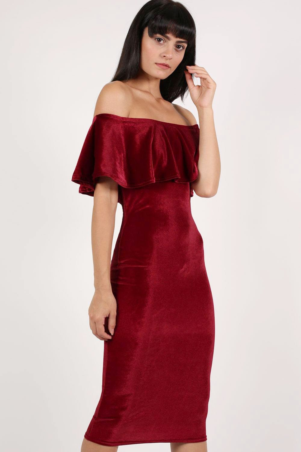 Velvet Off Shoulder Bodycon Midi Dress in Wine Red 0