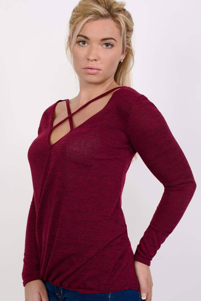 Long Sleeve Knitted Cross Strap And Wrap Over Front Top in Wine Red 1