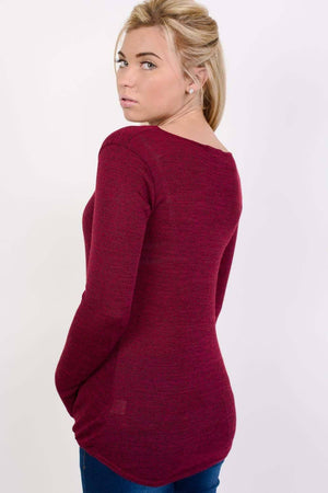 Long Sleeve Knitted Cross Strap And Wrap Over Front Top in Wine Red 3