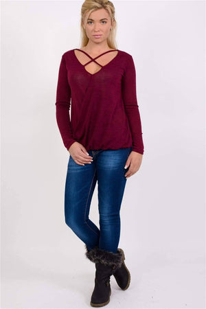 Long Sleeve Knitted Cross Strap And Wrap Over Front Top in Wine Red 4