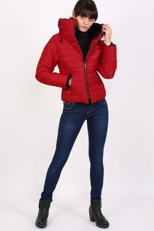 Quilted Long Sleeve Puffa Jacket in Red 4