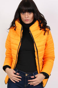 Quilted Long Sleeve Puffa Jacket in Yellow 0