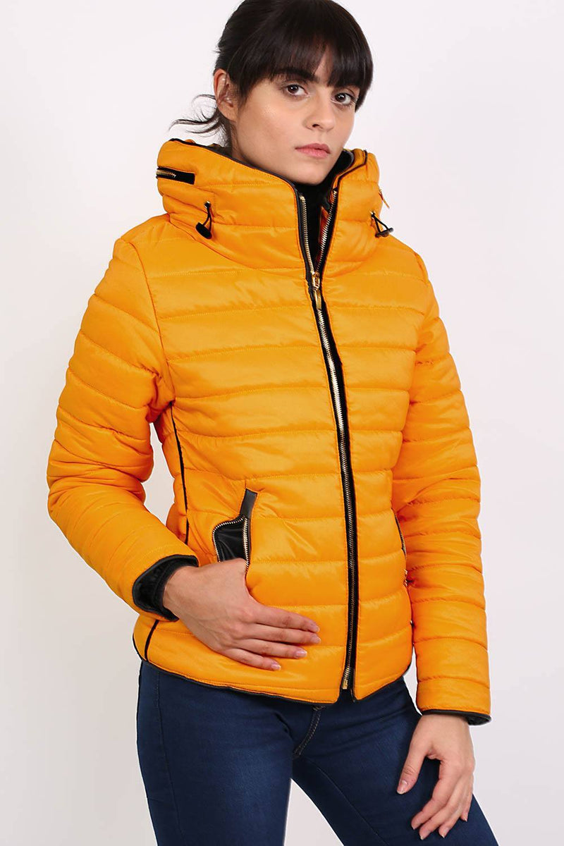 Quilted Long Sleeve Puffa Jacket in Yellow 3