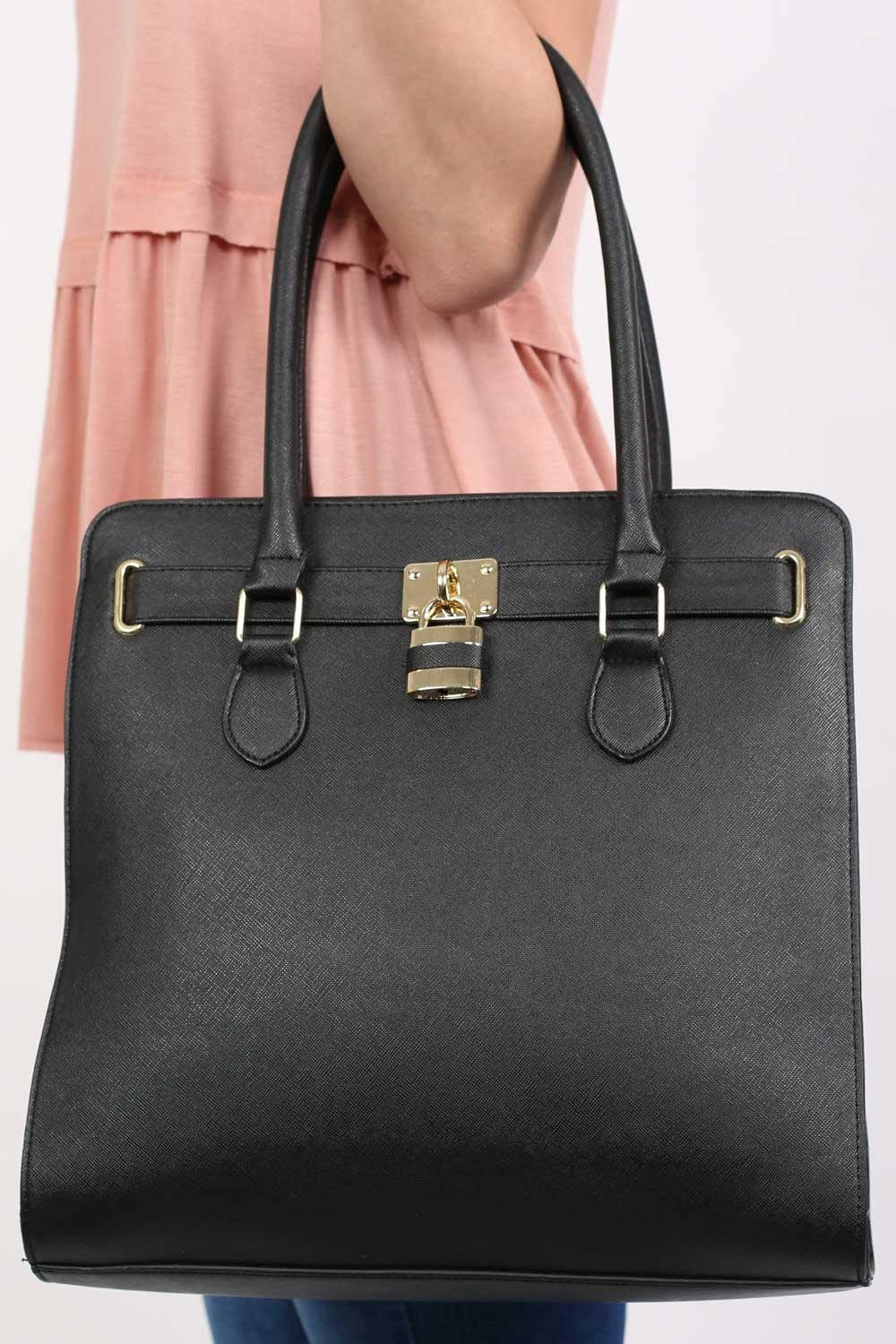 Large Winged Two Handle Tote Bag in Black 0