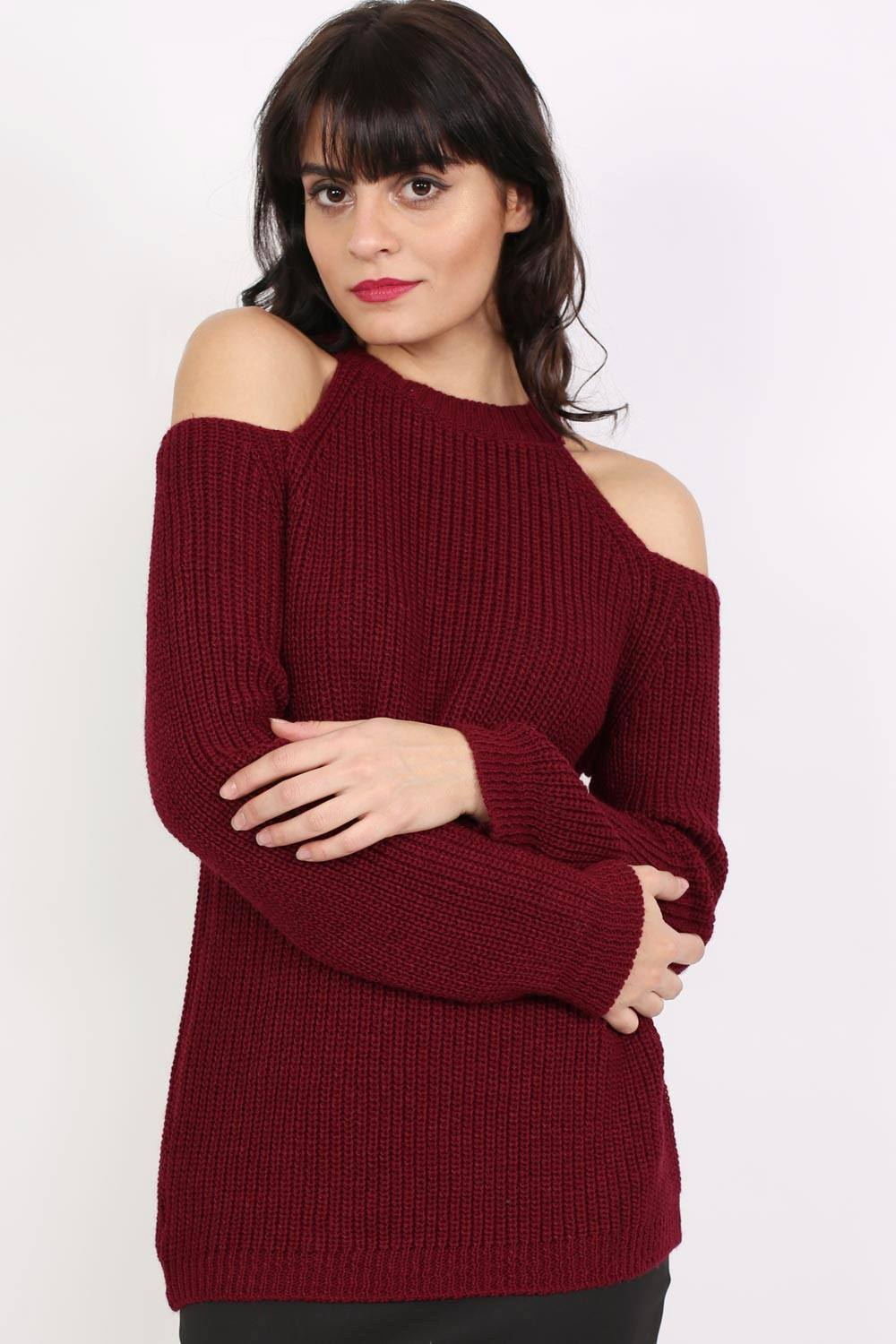 Chunky Cold Shoulder Long Sleeve Jumper in Wine Red 0