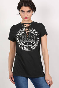 Lace Up Front Graphic T-Shirt in Black 0