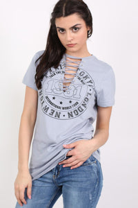 Lace Up Front Graphic T-Shirt in Dusty Blue 0