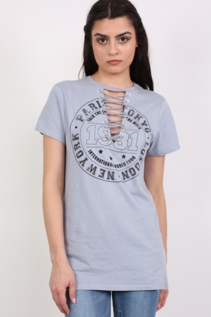 Lace Up Front Graphic T-Shirt in Dusty Blue 1