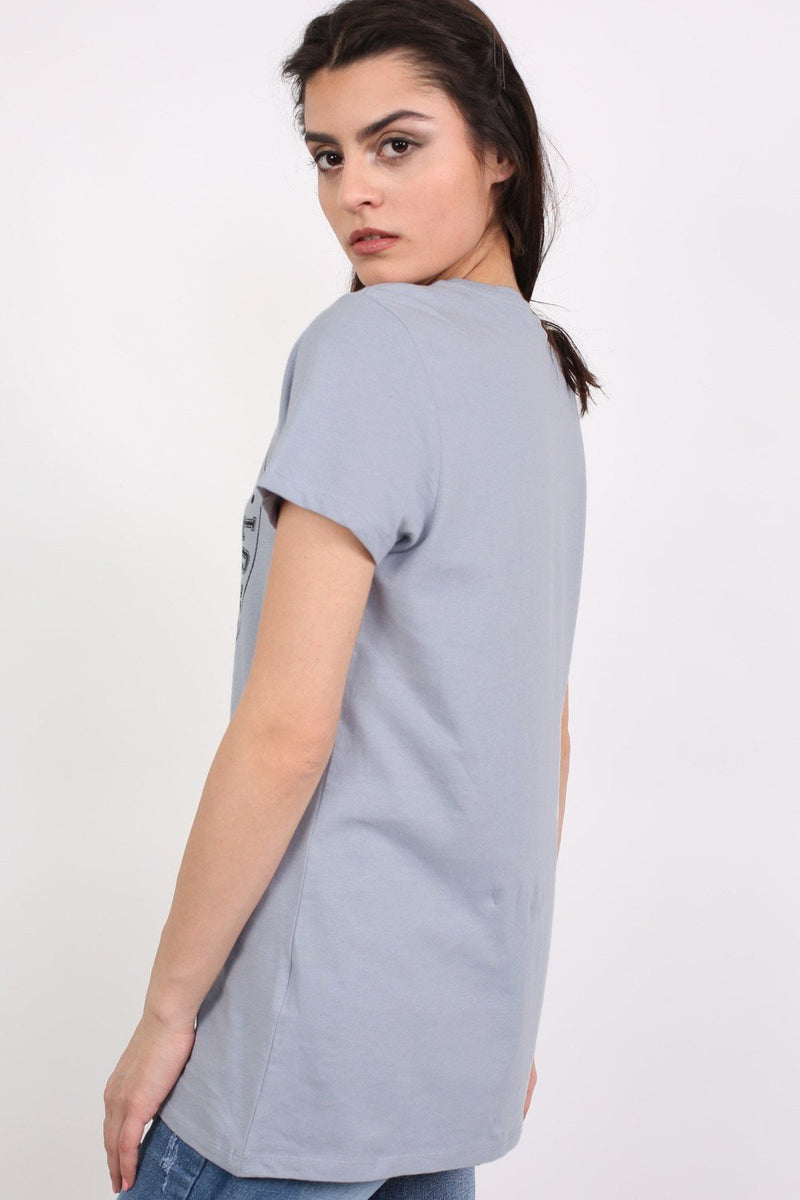 Lace Up Front Graphic T-Shirt in Dusty Blue 2