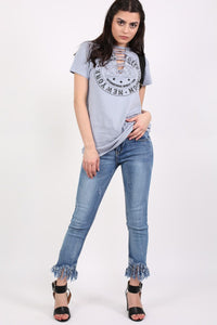 Lace Up Front Graphic T-Shirt in Dusty Blue 4