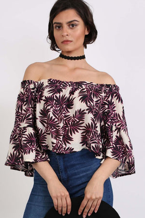 Frill Sleeve Floral Print Bardot Crop Top in Black & Red 0