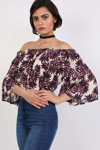 Frill Sleeve Floral Print Bardot Crop Top in Black & Red 1