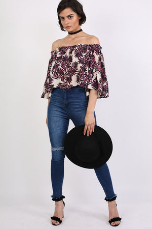 Frill Sleeve Floral Print Bardot Crop Top in Black & Red 4