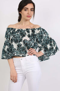 Frill Sleeve Floral Print Bardot Crop Top in Aqua Blue 0