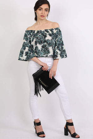 Frill Sleeve Floral Print Bardot Crop Top in Aqua Blue 3