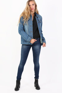 Boyfriend Style Denim Jacket in Denim Blue 3