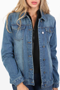 Boyfriend Style Denim Jacket in Denim Blue 4