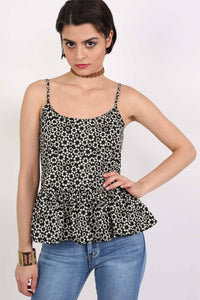 Strappy Daisy Print Peplum Hem Cami Top in Black 0