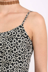 Strappy Daisy Print Peplum Hem Cami Top in Black 2