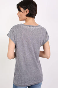 Turn Up Cuff Burnout Top in Charcoal Grey 1