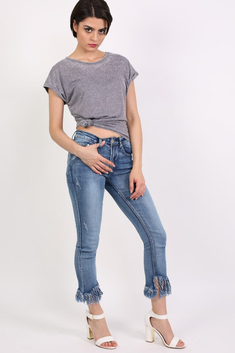 Turn Up Cuff Burnout Top in Charcoal Grey 3