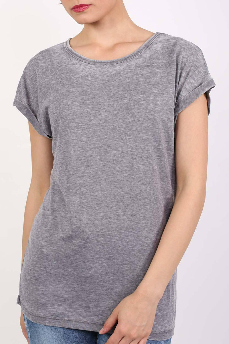 Turn Up Cuff Burnout Top in Charcoal Grey 4
