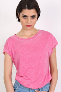Turn Up Cuff Burnout Top in Magenta Pink 0