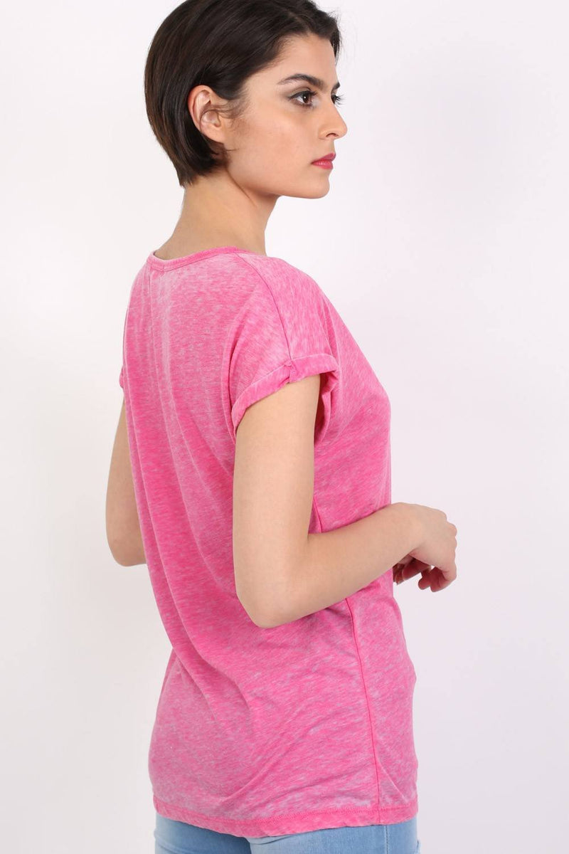 Turn Up Cuff Burnout Top in Magenta Pink 1