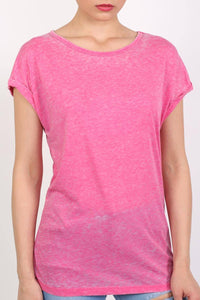 Turn Up Cuff Burnout Top in Magenta Pink 4
