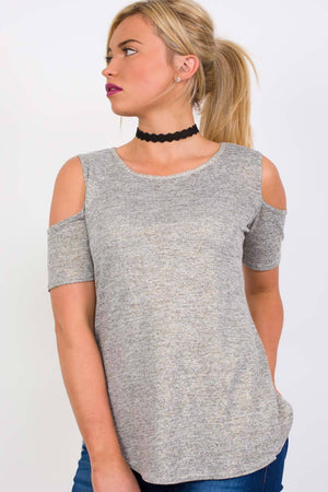 Metallic Fine Knit High Low Cold Shoulder Top in Grey 0