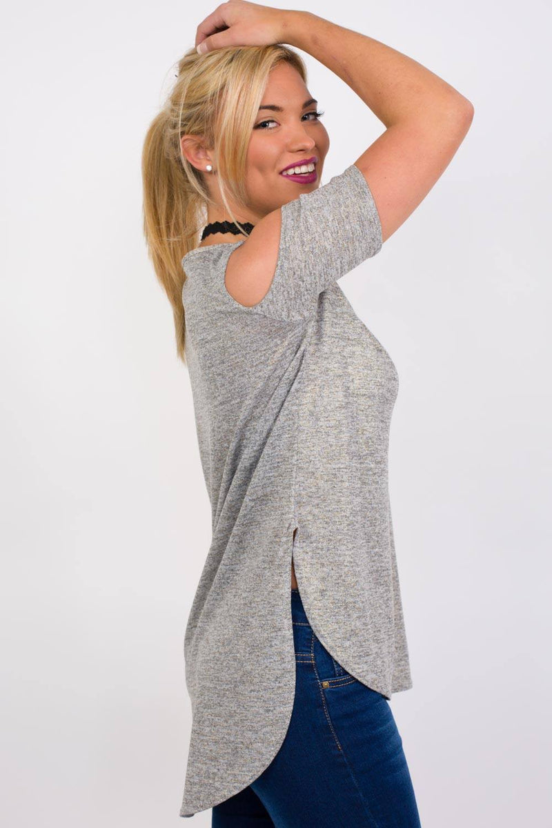 Metallic Fine Knit High Low Cold Shoulder Top in Grey 1