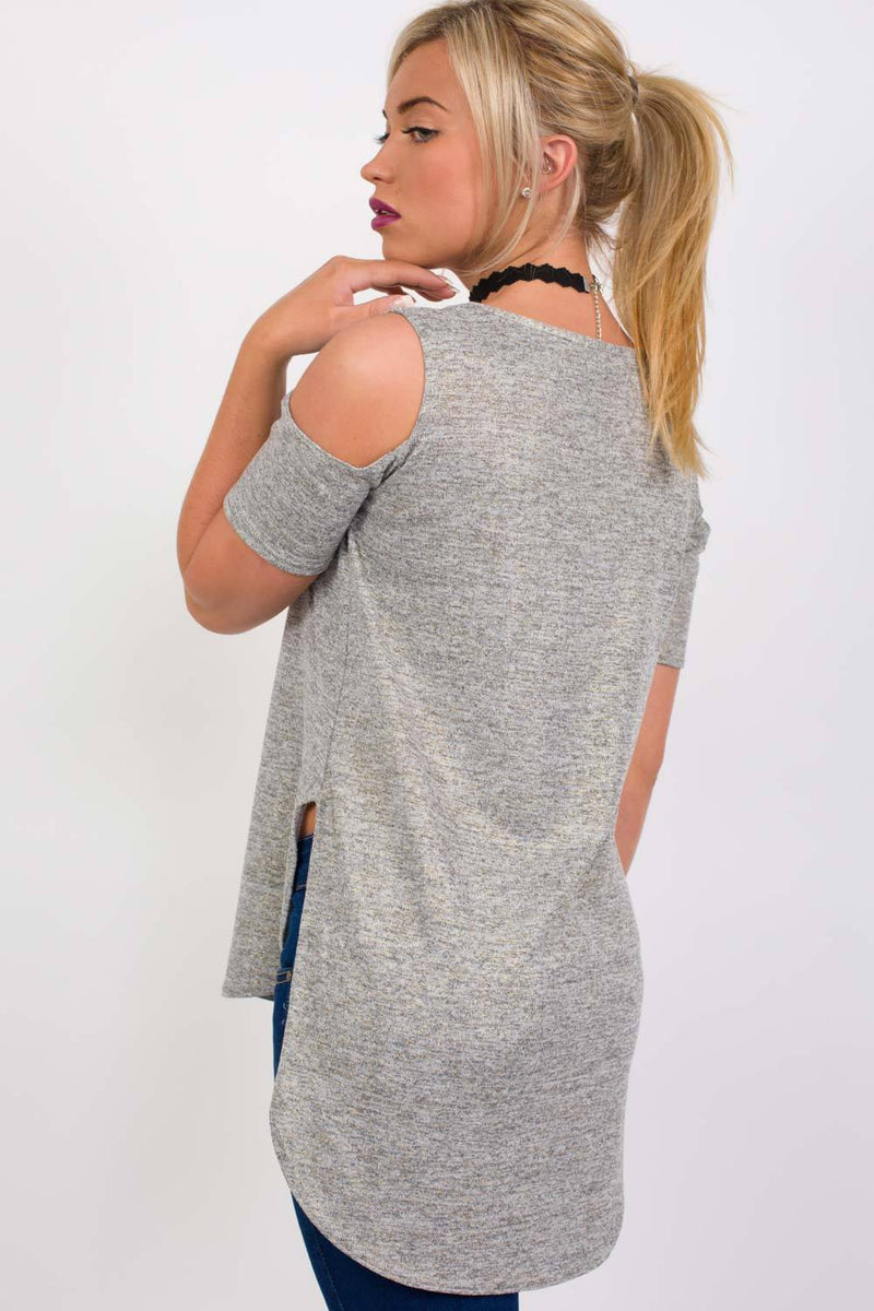 Metallic Fine Knit High Low Cold Shoulder Top in Grey 3