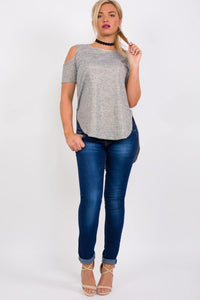 Metallic Fine Knit High Low Cold Shoulder Top in Grey 4