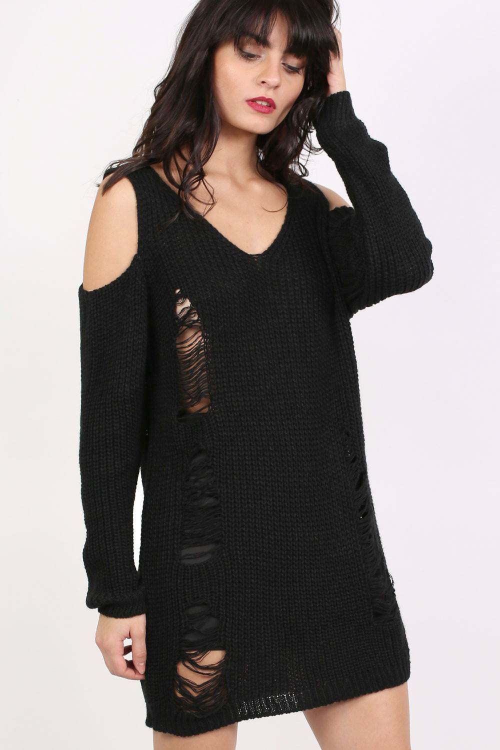 Cold Shoulder V Neck Frayed Long Sleeve Jumper Dress in Black 0