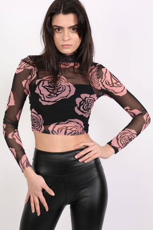 Floral Print Mesh Crop Top in Black 0