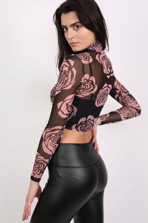 Floral Print Mesh Crop Top in Black 1