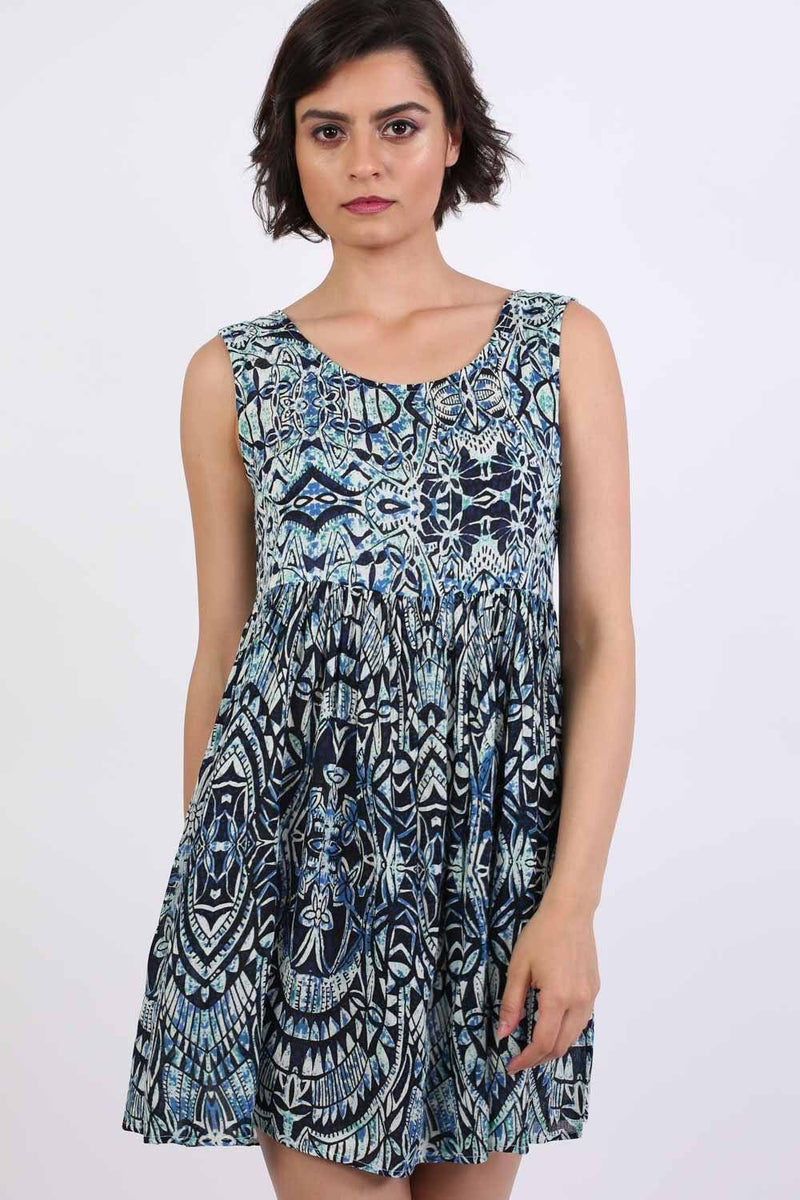 Tribal Print Smock Skater Mini Dress in Blue 0
