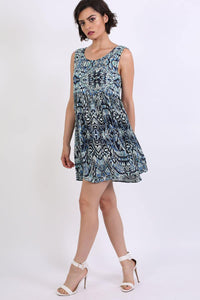Tribal Print Smock Skater Mini Dress in Blue 3
