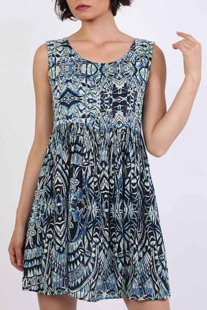 Tribal Print Smock Skater Mini Dress in Blue 4